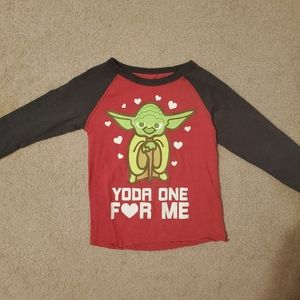 """""""Yoda one for me"""" v-day long sleeve tee"""